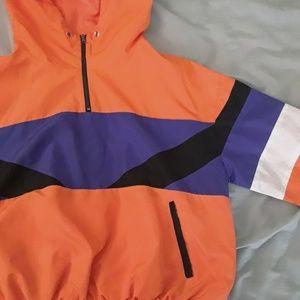 Orange and purple wind breaker